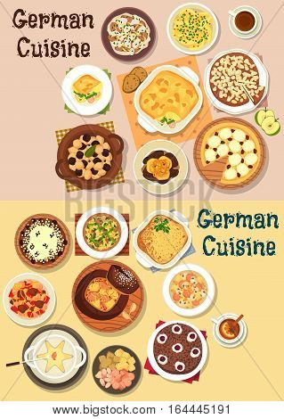 German cuisine icon set with cheese and beer fondue, meat stew, cabbage and sausage soups, potato and apple pies, sausage vegetable casserole, chocolate and cheese cakes, liver with apple, stollen