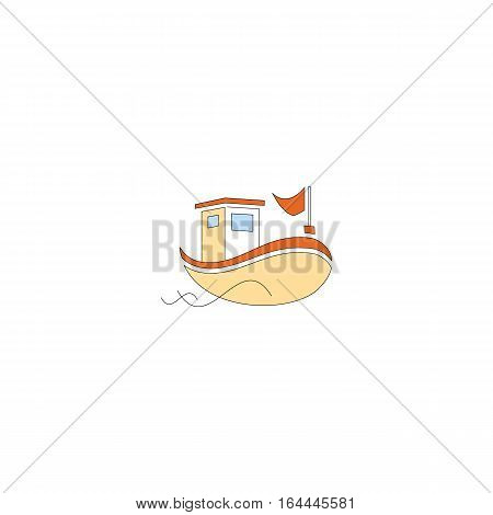 Bautiful cartoon style fishing boat isolated on a white backgorund.