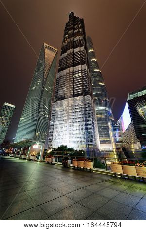 Bottom View Of Skyscrapers In Shanghai At Night, China