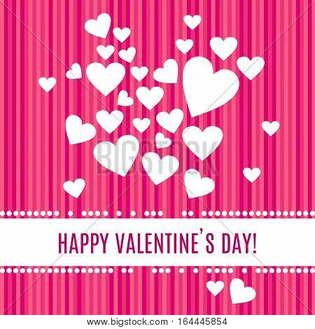 Happy Valentines day greeting card. White hearts isolated on stripped pink background. Pearl frame around place for your text. Vector illustration
