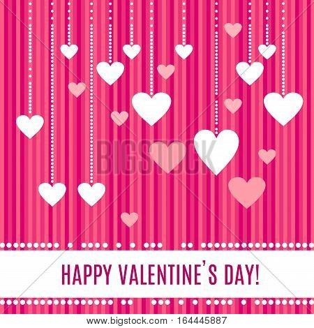 Happy Valentines day greeting card. White hearts on beautiful pearl strings isolated on stripped pink background. Pearl frame around place for your text. Vector illustration