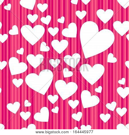 Happy Valentines day seamless pattern. White hearts isolated on stripped pink background. Vector illustration