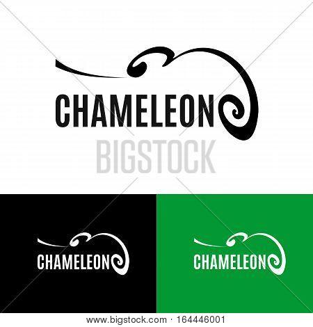 Chameleon logo set. Outline reptile icon. Black animal silhouette isolated on white background. Abstract design element. Vector illustration