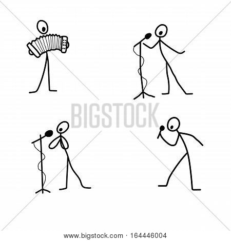 Cartoon icons set of sketch stick singer figures vector people in cute miniature scenes.