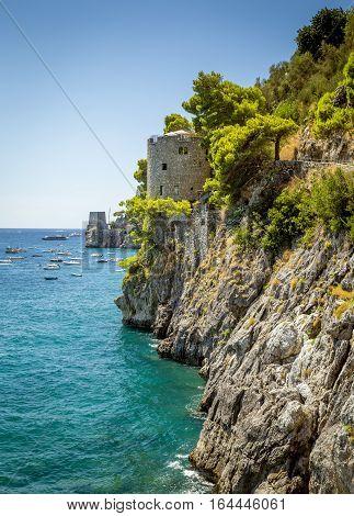 Stona tower in Amalfi Coast - Positano Italy