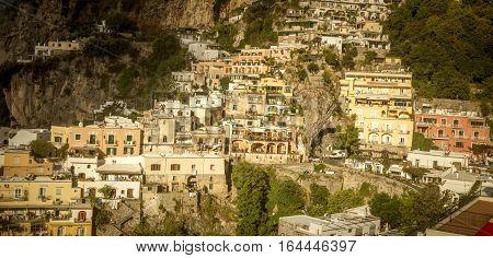 Amalfi Coast - panorama of houses on rocks in Positano