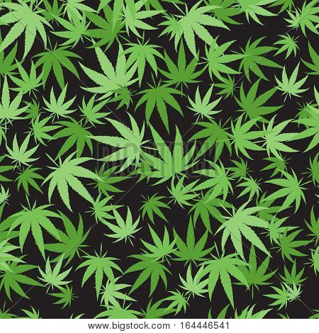Green marijuana background vector illustration. Seamless pattern leaf herb narcotic textile. Grass medical agriculture addictive weed nature forbidden.