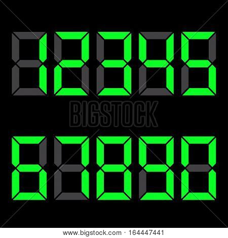 Black background . green numbers. electronic components hours. Vector illustration