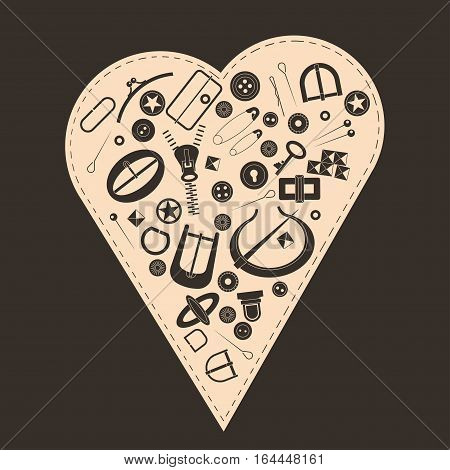 Vector illustration. Concept for poster, cards, advertising of haberdashery store. Many fancy metal accessories for clothing and handbags on a background of heart. Graphic vintage style.