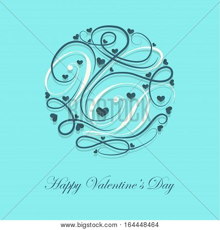 Cover design.Decorated letters V and D with a lots of little hearts on the blue background and the phrase happy Valentine's Day in the bottom of the image.