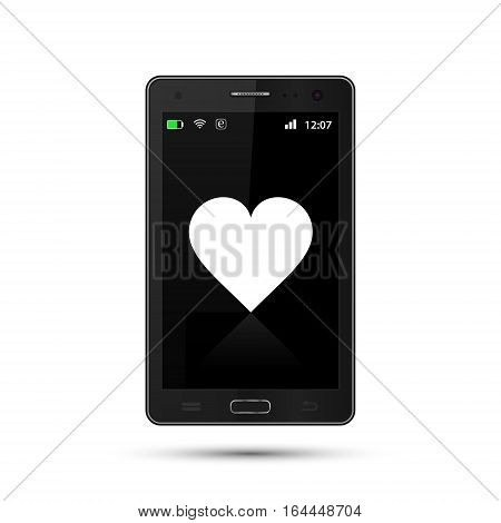Realistic smartphone with heart icon vector illustration.