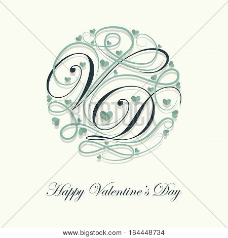 Cover design.Decorated letters V and D with a lots of little green hearts on the white background and the phrase happy Valentine's Day in the bottom of the image.