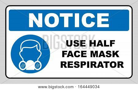 Gas half face mask respirator icon isolated on white background. Protection symbol. Information mandatory symbol in blue circle isolated on white. Vector illustration. Notice label