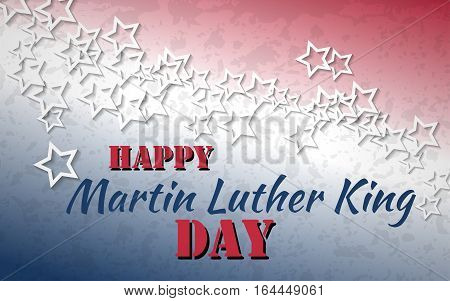 Happy Martin Luther King Day poster. White stars with red and blue colors of american flag background. Vector illustration.