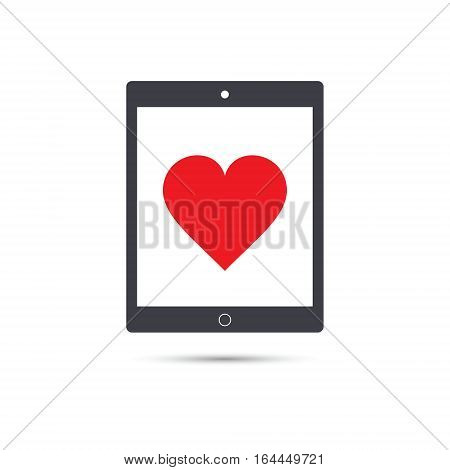 Tablet with heart icon vector device illustration.