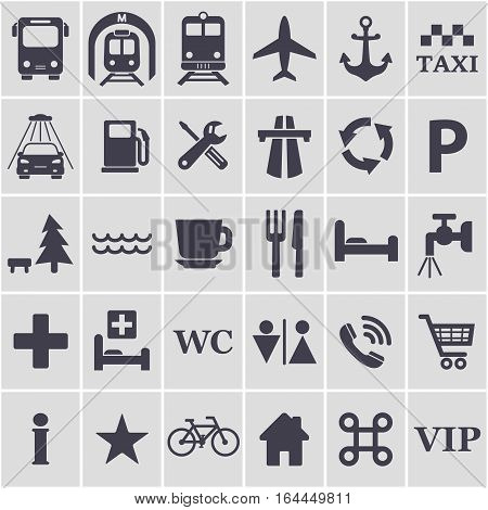 Travel icons set. Different black travel signs for design. Transport location symbol. Vector isolated illustration.
