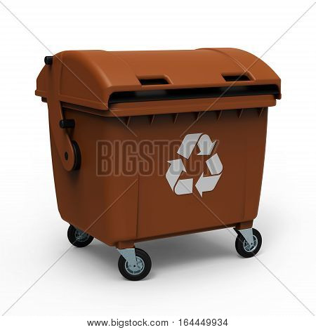 Brown garbage container isolated on white background 3D rendering