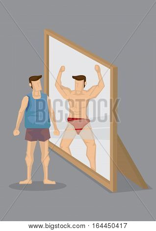 Cartoon man looks into mirror and sees himself as muscular body-builder in reflection. Creative cartoon vector illustration on self perception concept isolated grey background.