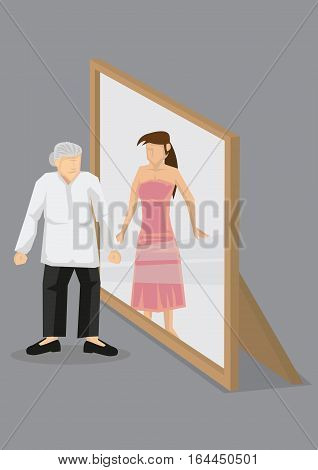 Old woman looks into mirror and sees herself as young young in reflection. Creative cartoon vector illustration on self perception concept isolated grey background.
