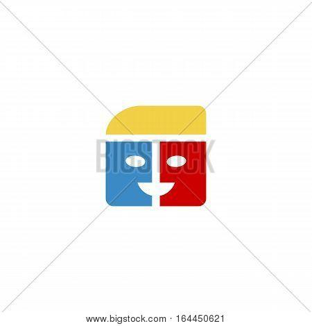 Colorful Folder icon logo isolated on a white background.