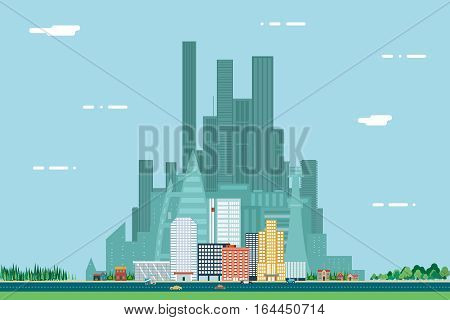 Day Urban Landscape City Real Estate Summer Day Background Design Concept Icon Template Vector Illustration