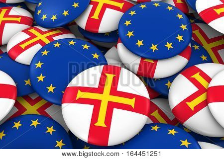 Guernsey And Europe Badges Background - Pile Of Channel Island And European Flag Buttons 3D Illustra