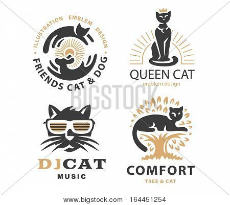 Set logo illustration with cats, emblem design on white background