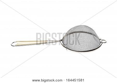 Small Metallic Tea Strainer Sieve With Handle Isolated On White.