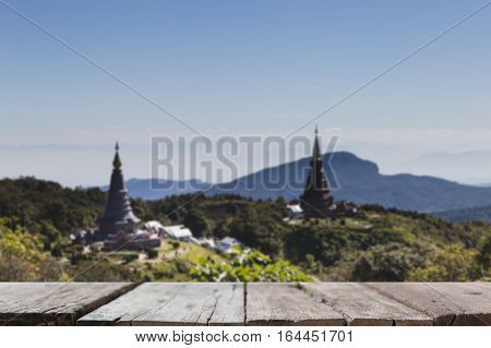 Blur Image Of Landmark Pagoda In Doi Inthanon National Park At Chiang Mai, Thailand With Selected Fo