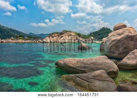 landscape on Tao's island in Thailand a favourite place of divers