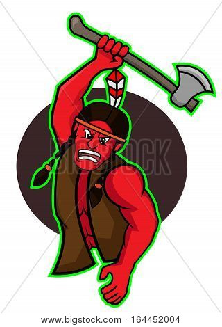 Indian warrior attack with ax cartoon character. Vector Illustration.