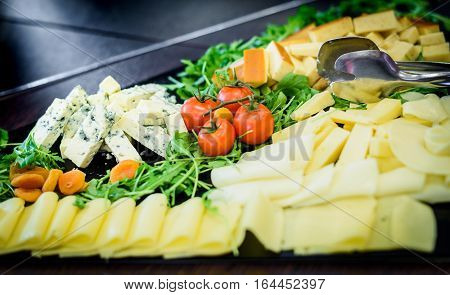 Cheese Plate In Self Service All You Can Eat Buffet.