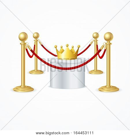 Gold Crown and Red Rope Barrier. Concept Exposition Exclusive Jewelry and Protection Vector illustration
