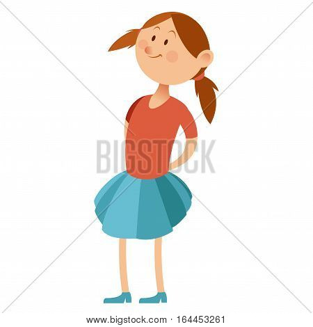 Vector image of the Flat little girl