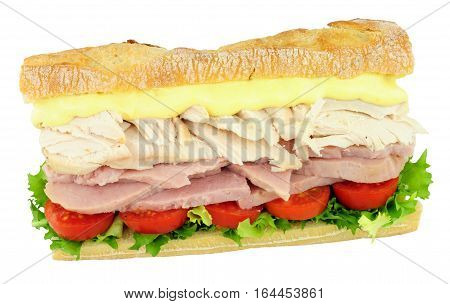 Chicken and ham salad sub roll sandwich isolated on a white background