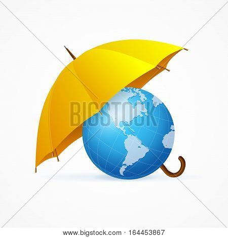 Save The Planet Concept Yellow Umbrella and Globe Blue Earth for Card and Poster. Vector illustration