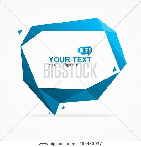 Abstract Geometric Origami Blue Bubble Speech Banner Card. Space for Text, Think. Vector illustration