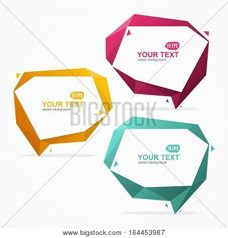 Abstract Geometric Origami Color Bubble Speech Banner Card Set for Advertisement, Presentation and Promotion of Business. Vector illustration