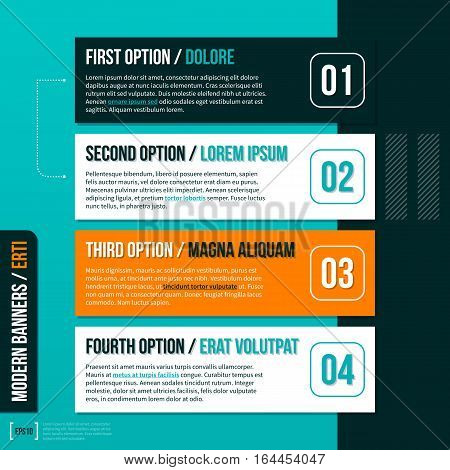 Four Horizontal Banners On Turquoise Background. Useful For Presentations And Advertising.