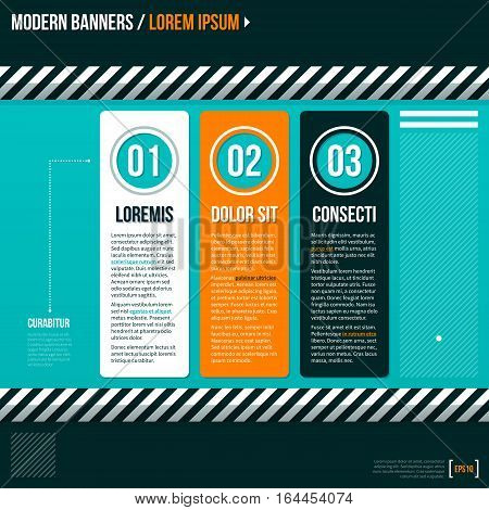 Three Numbered Banner On Turquoise Background. Useful For Presentations And Advertising.