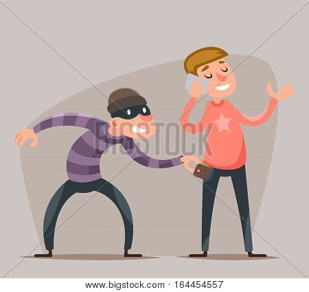 Thief Steals a Purse from Hapless Guy Character Icon Cartoon Design Template Vector Illustration