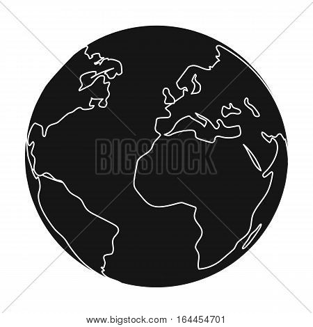Earth icon in black design isolated on white background. Bio and ecology symbol stock vector illustration.