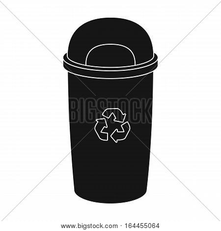 Recycle garbage can icon in black design isolated on white background. Bio and ecology symbol stock vector illustration.