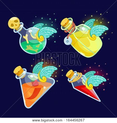 Vector illustration. Set of Cartoon Bottles of potion with wings.Glass flasks with colorful liquids isolated on a dark background.icon game magic. Games icon elixir.Design for app user interface