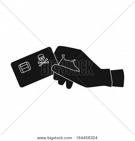 Credit card fraud icon in black design isolated on white background. Hackers and hacking symbol stock vector illustration.