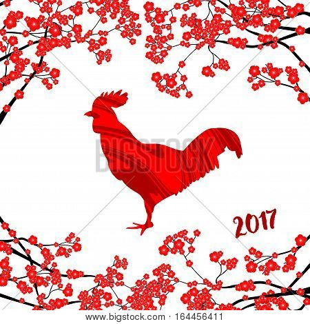 Chinese New Year vector card with red rooster and red plum blossom on the white background