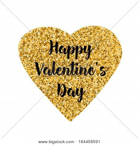 Happy Valentine's Day text on the creative gold heart. White background. Vector illustration.