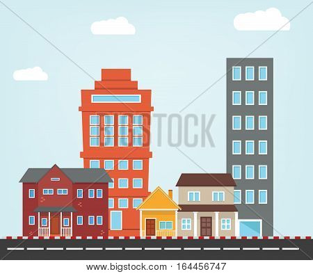 Small City vector illustration with flat style, House and building icon