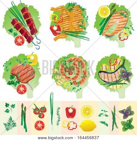 bright juicy kebab and grilled meat, fish, chicken, vegetables on a lettuce leafs vector illustration