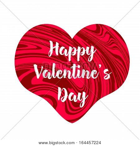 Happy Valentine's Day text on the creative red heart. White background. Vector illustration.